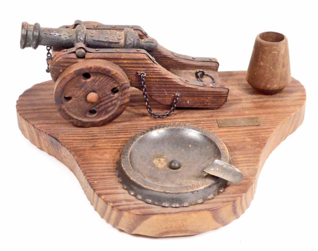 VINTAGE WOODEN CANNON SMOKE STAND