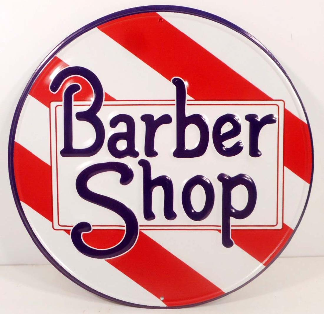 BARBER SHOP RED & WHITE STRIPED METAL SIGN