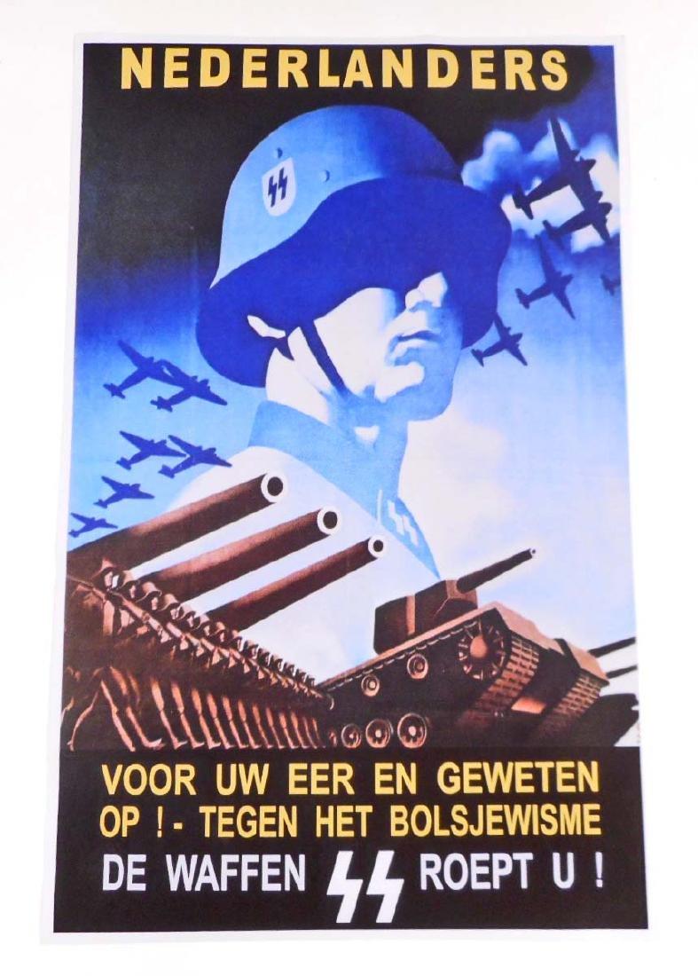 GERMAN NAZI DUTCH MILITARY WW2 PROPAGANDA POSTER -