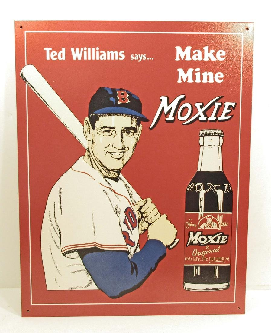 TED WILLIAMS MOXIE SODA ADVERTISING METAL SIGN