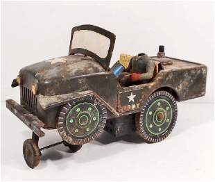 VINTAGE TIN LITHO TOY ARMY JEEP / TRUCK - BATTERY