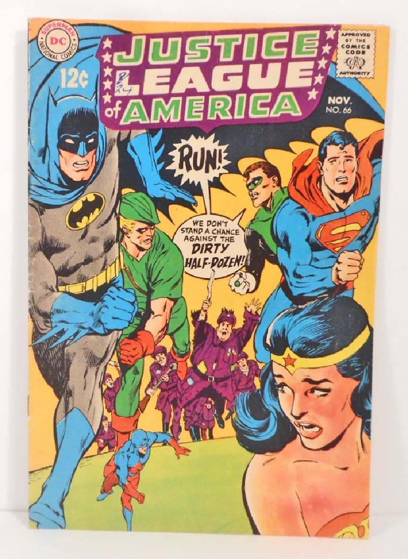 1968 JUSTICE LEAGUE NO. 66 COMIC BOOK W/ 12 CENT COVER