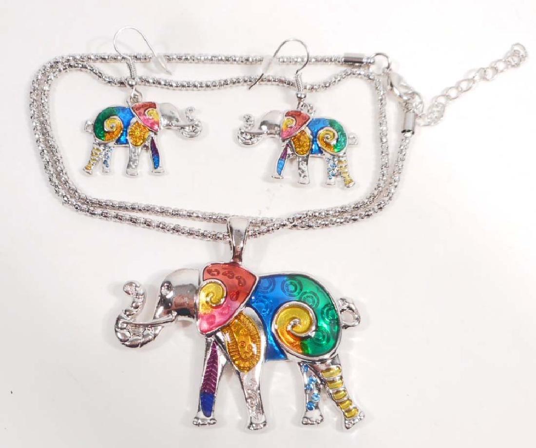 COLORFUL ELEPHANT PENDANT & EARRING JEWELRY SET