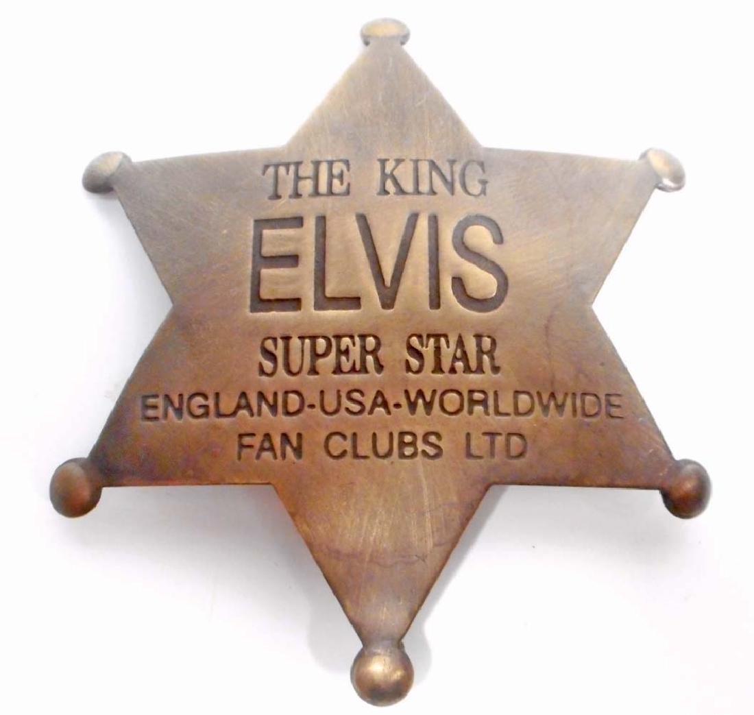 ELVIS SUPER STAR FAN CLUBS BRASS BADGE