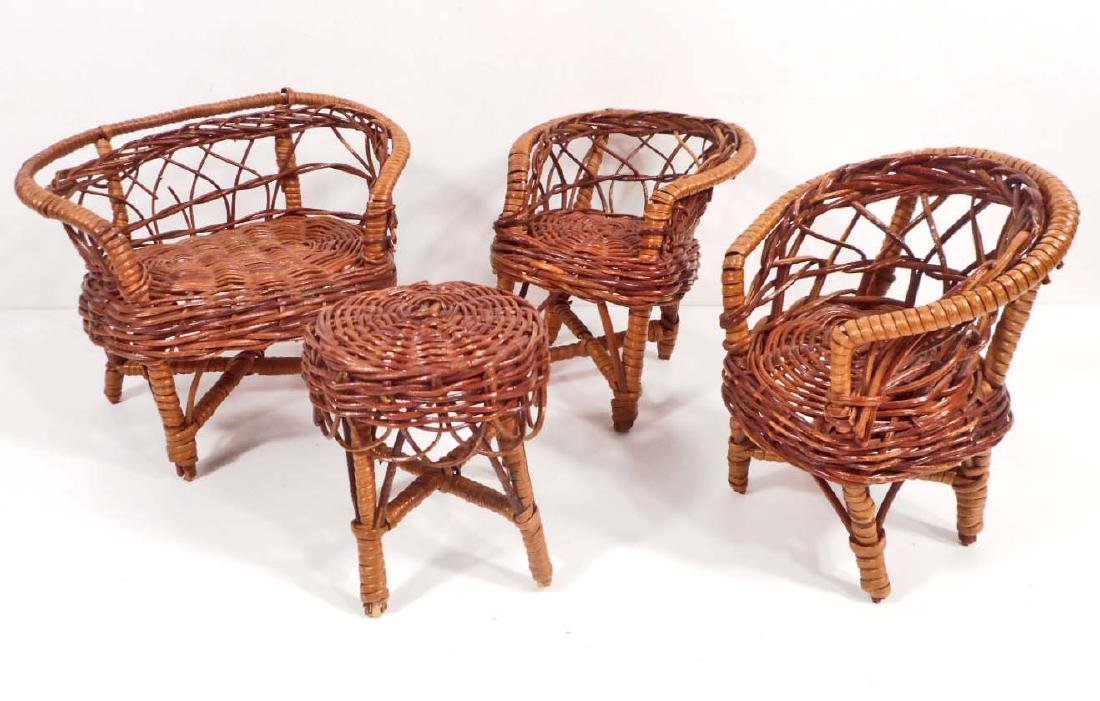 LOT OF 4 PIECES OF WICKER BARBIE DOLL FURNITURE