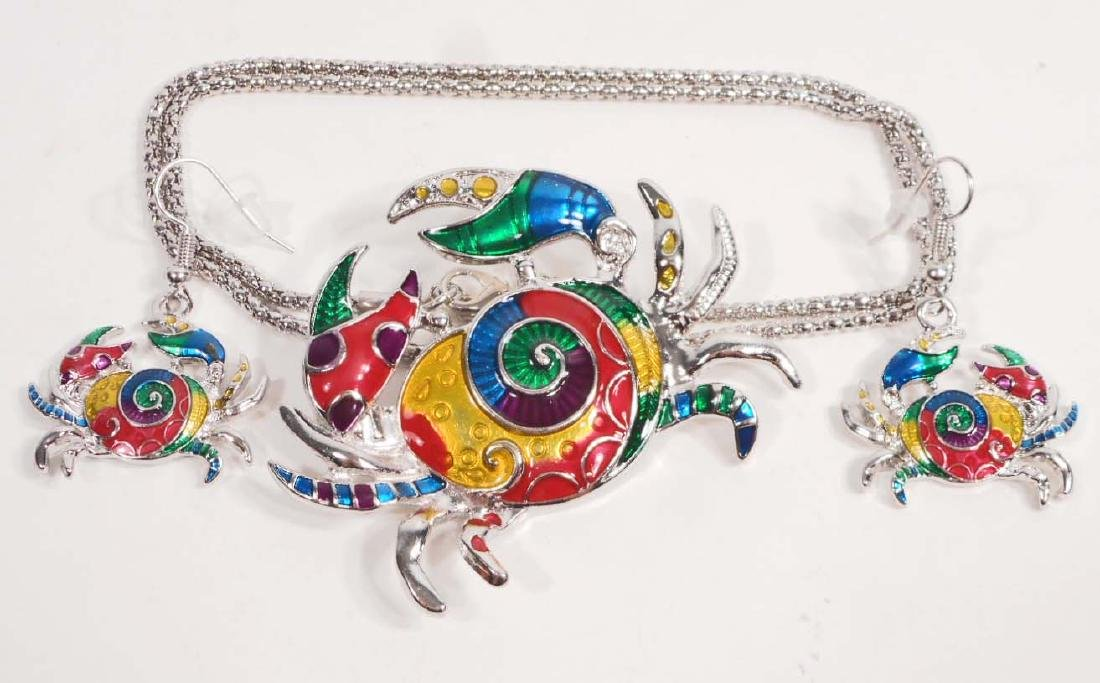 COLORFUL CRAB NECKLACE & EARRING JEWELRY SET