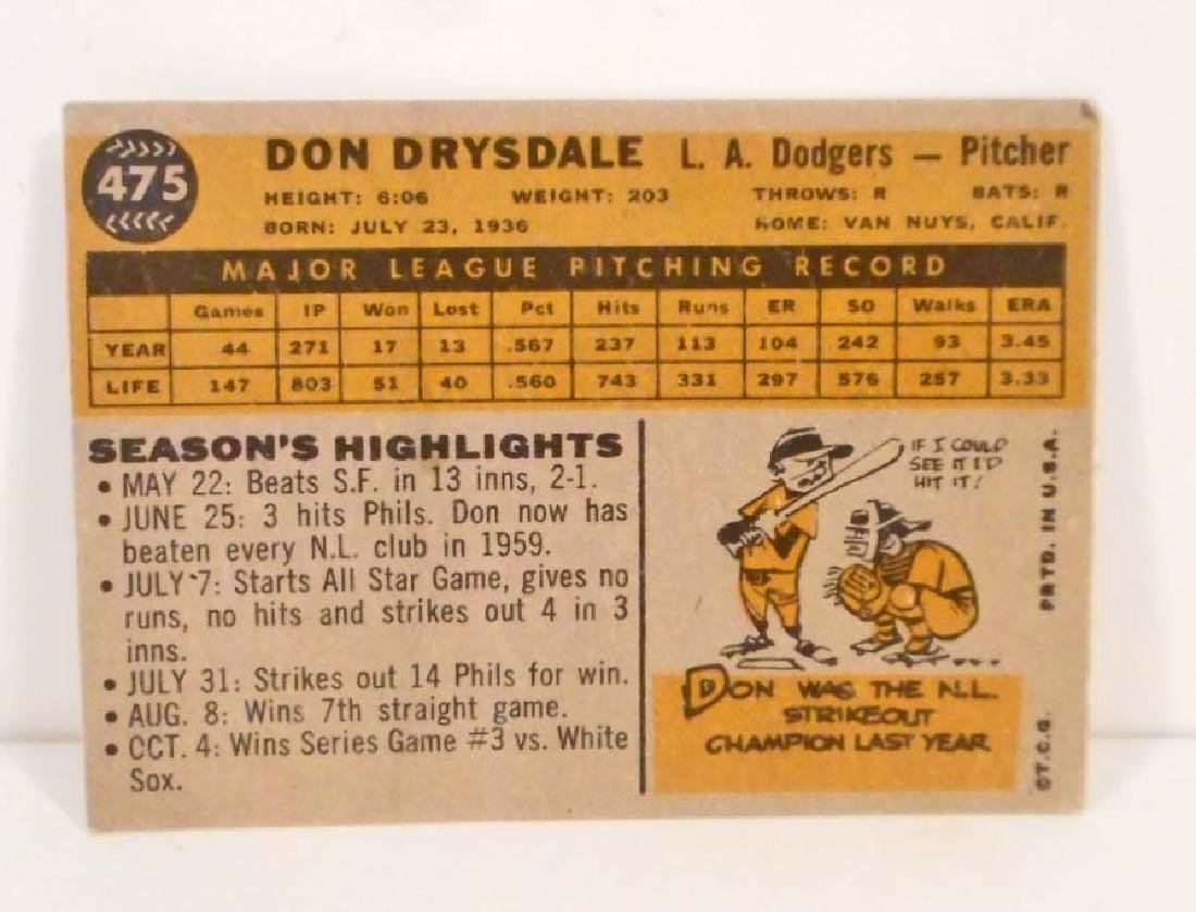 1960 TOPPS DON DRYSDALE NO. 475 BASEBALL CARD - 2