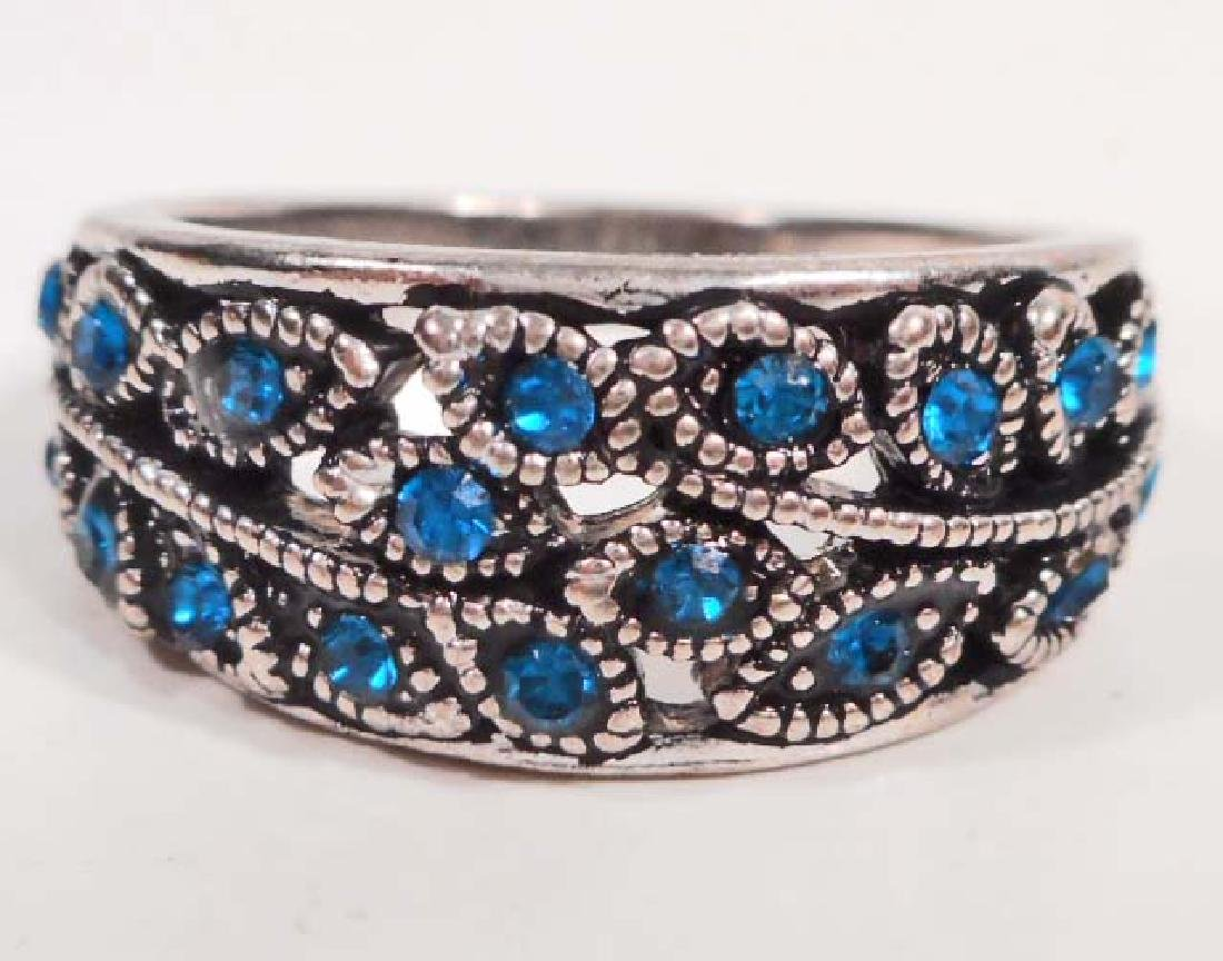 SWEET TURQUOISE BLUE & SILVER LEAF RING - SIZE 7