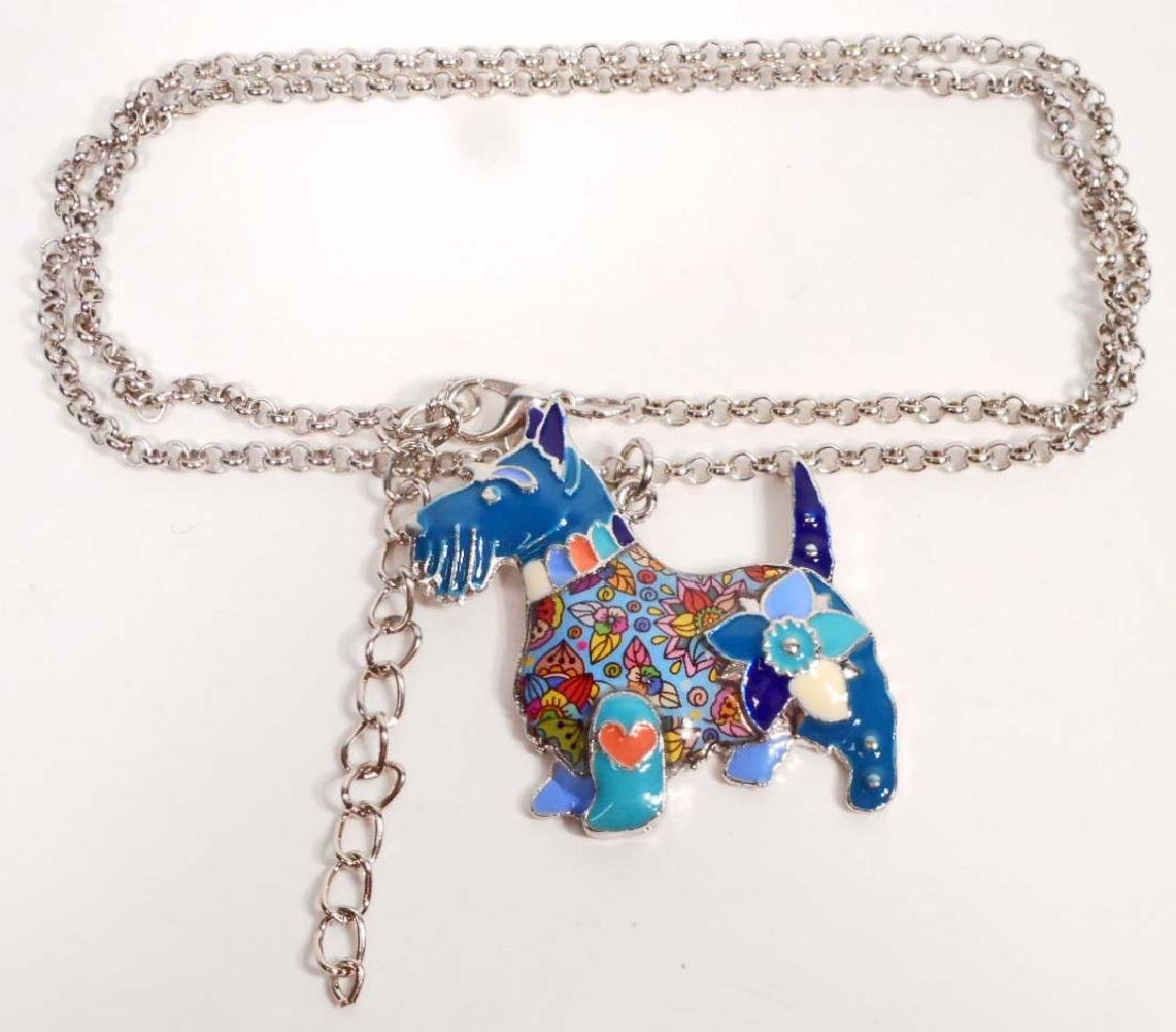 BEAUTIFUL SCOTTISH TERRIER DOG COLORFUL ENAMEL NECKLACE