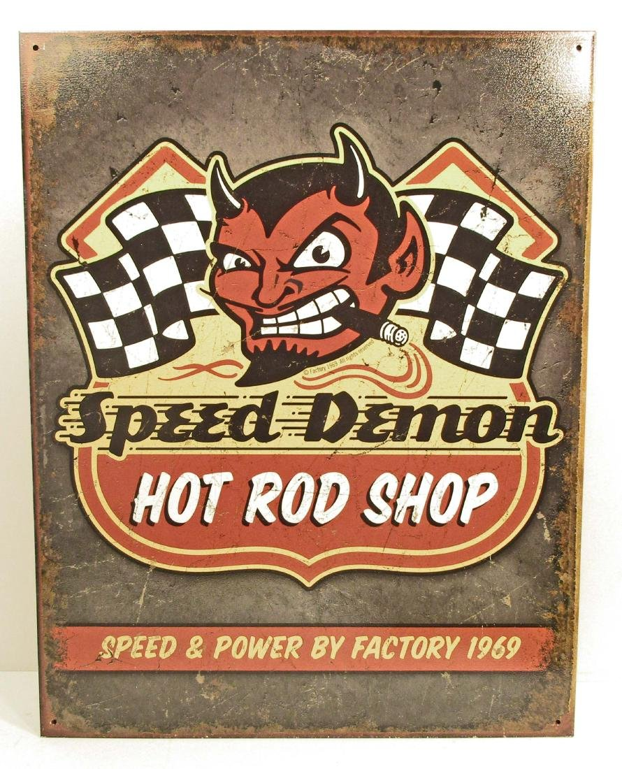 SPEED DEMON HOT ROD SHOP METAL SIGN