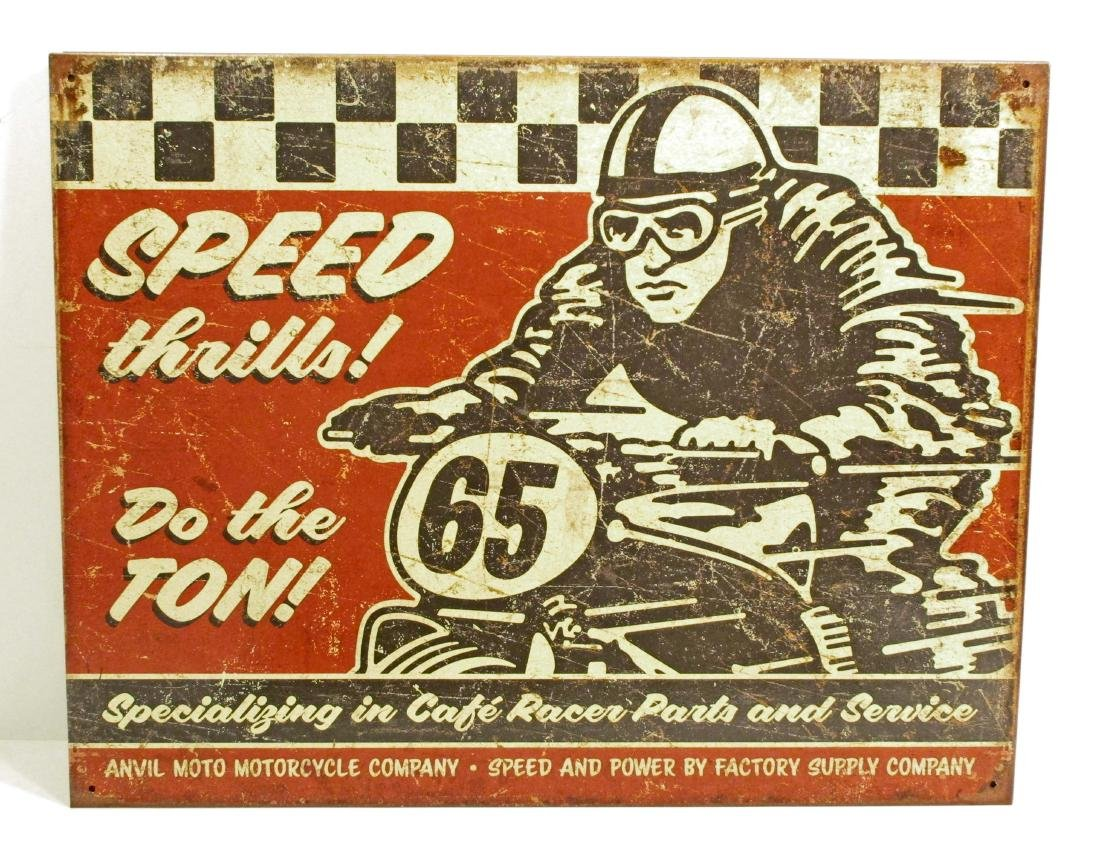 SPEED THRILLS MOTORCYCLE METAL SIGN