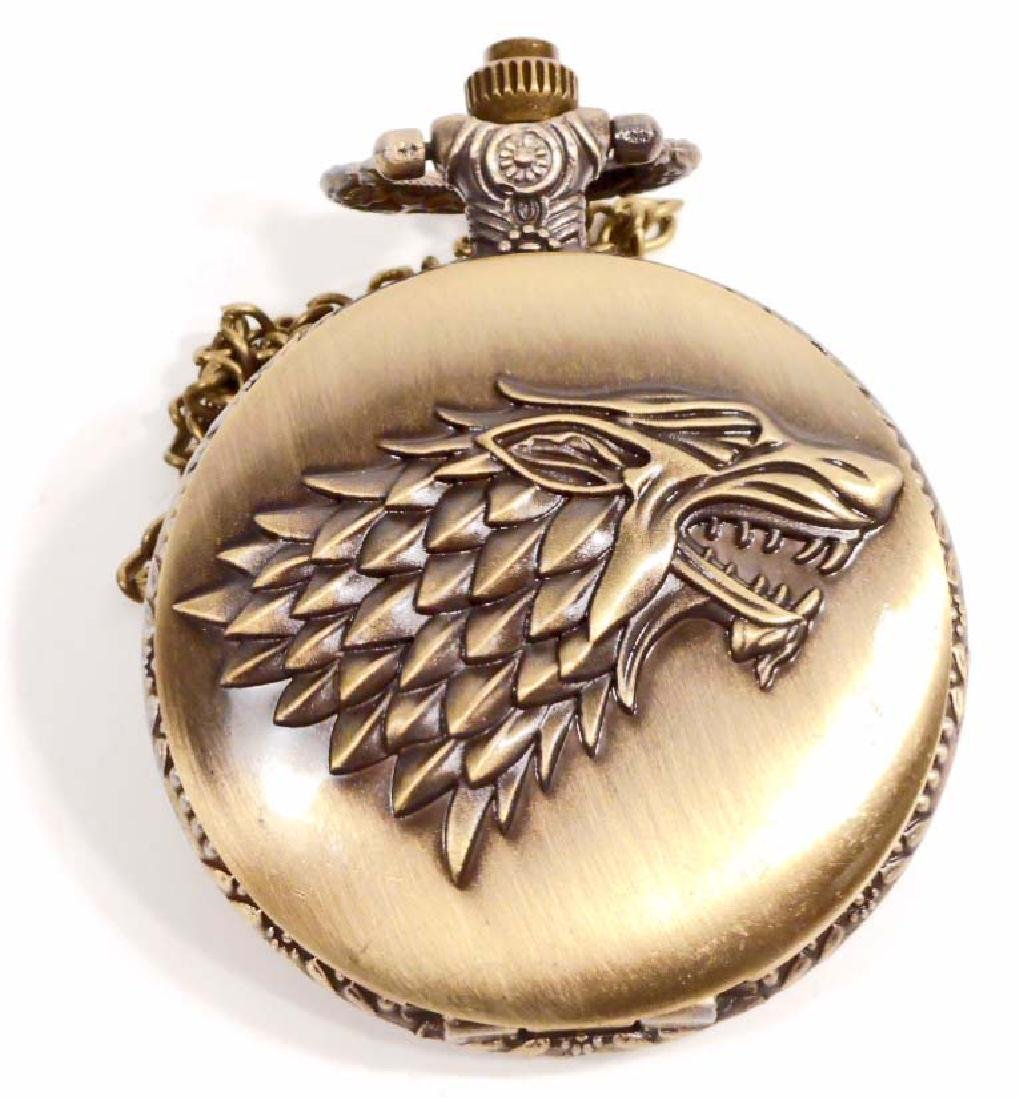 GAME OF THRONES WOLF POCKET WATCH W/ CHAIN