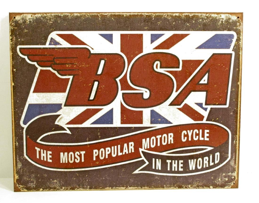BSA MOTORCYCLE ADVERTISING METAL SIGN