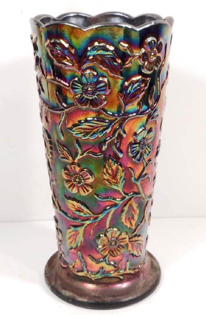 VINTAGE FENTON PURPLE PEACOCK CARNIVAL GLASS VASE