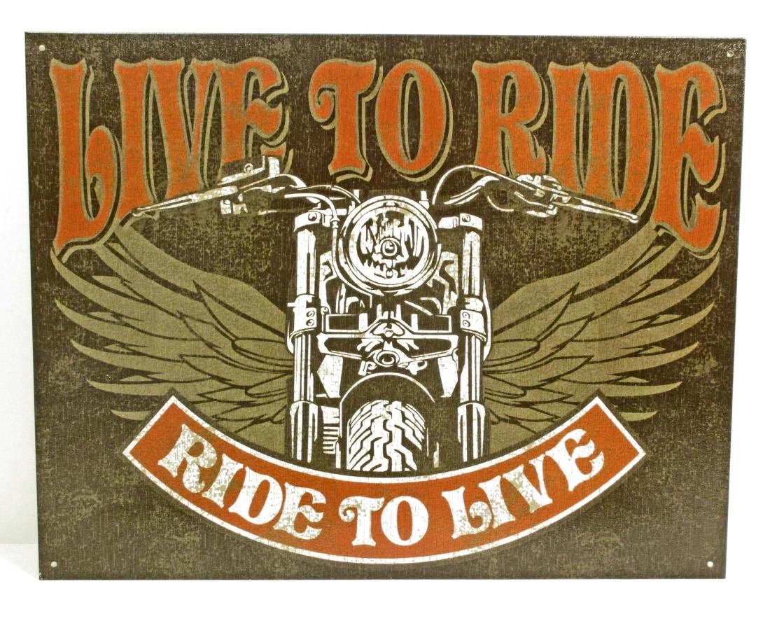 LIVE TO RIDE MOTORCYCLE METAL SIGN