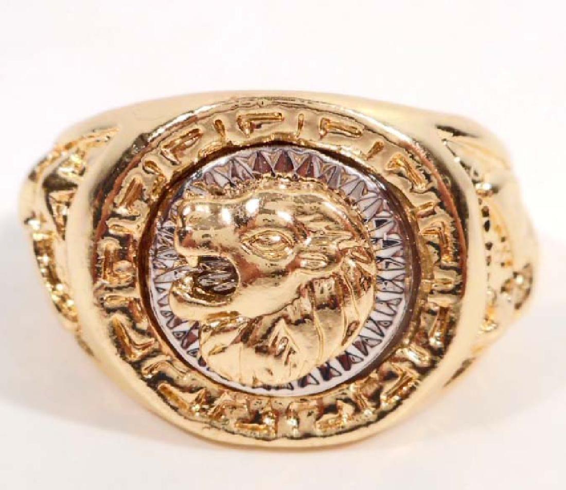 MEN'S GOLD TONE LION RING - SIZE 12