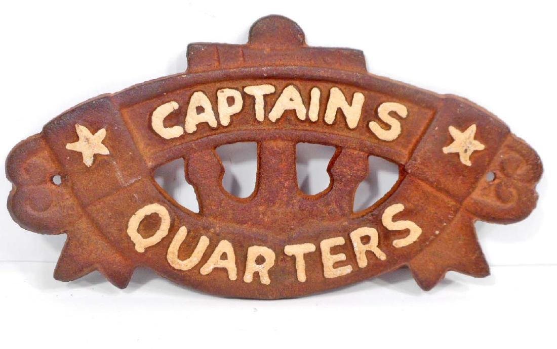 CAPTAINS QUARTERS CAST IRON PLAQUE