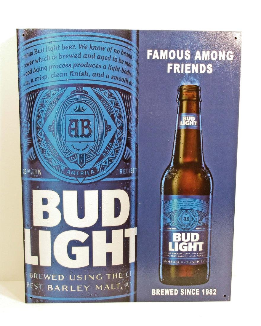 BUD LIGHT ADVERTISING METAL SIGN