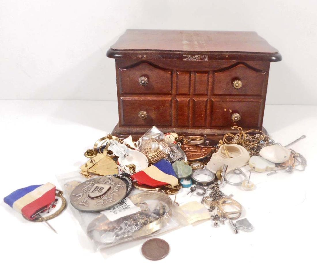 VINTAGE WOODEN JEWELRY BOX W/ CONTENTS