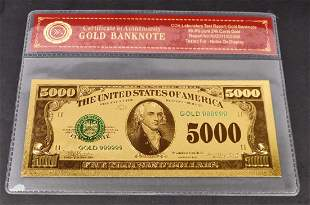 999 24K FIVE THOUSAND DOLLAR GOLD BANKNOTE WCOA