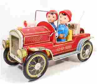VINTAGE TIN LITHO FIRE TRUCK TOY BATTERY OPP