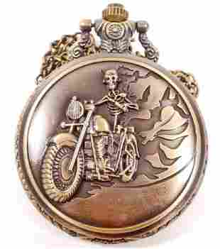 SKELETON ON MOTORCYCLE POCKET WATCH W CHAIN
