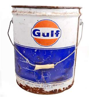VINTAGE GULF OIL LARGE ADVERTISING CAN