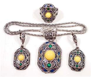 FASHION JEWELRY NECKLACE EARRING AND RING SET