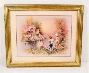 VINTAGE FRAMED PICTURE OF BOY AND GIRL FISHING