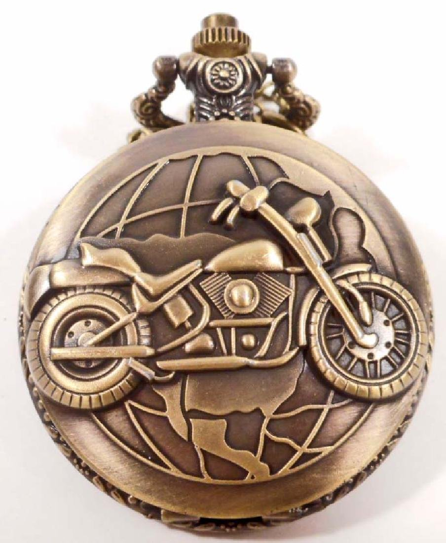 MOTORCYCLE GLOBE POCKET WATCH W/ CHAIN