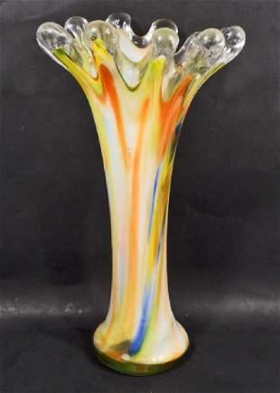 VINTAGE HAND BLOWN SWIRLED ART GLASS VASE