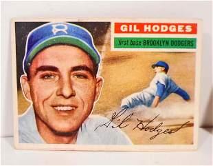 1956 TOPPS HOF GIL HODGES #145 BASEBALL CARD VERY GOOD