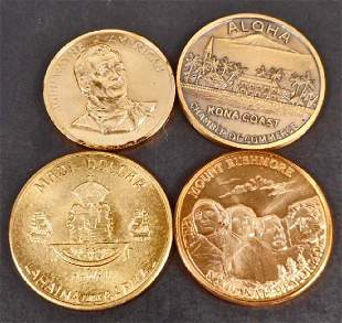 LOT OF 4 VINTAGE COMMEMORATIVE COINS TOKENS
