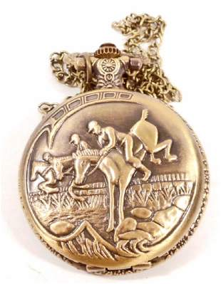 HORSE JUMPING POCKET WATCH W CHAIN