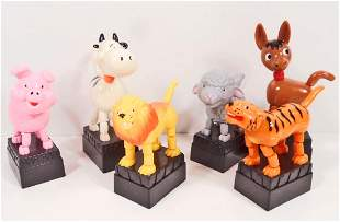 LOT OF 6 VINTAGE ANIMAL PUSH BUTTON PUPPETS
