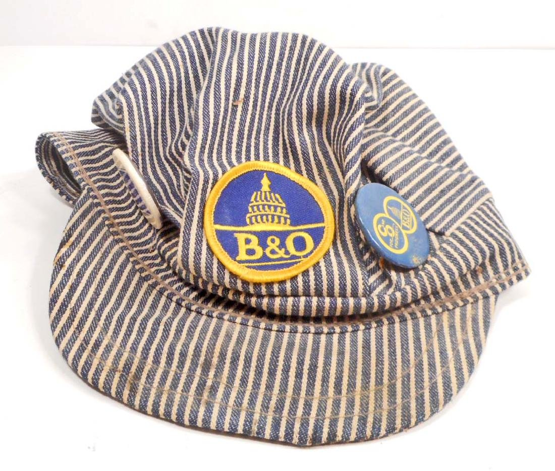 VINTAGE B & O RAILROAD HICKORY STRIPE ENGINEERS CAP HAT
