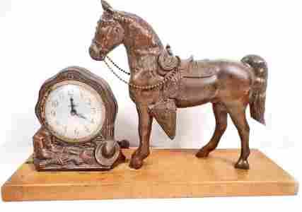 VINTAGE SPARTUS HORSE MANTLE CLOCK