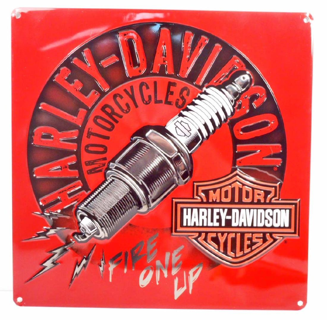 HARLEY DAVIDSON FIRE ONE UP EMBOSSED METAL TIN SIGN