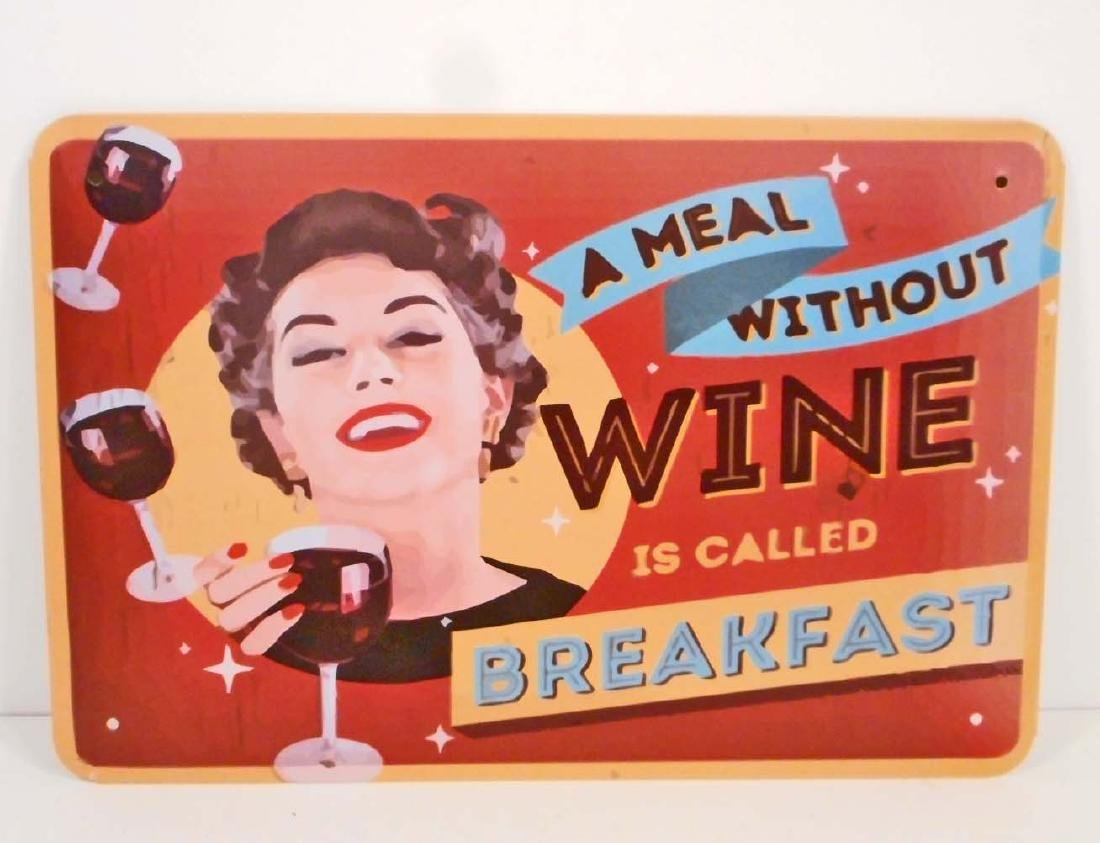 A MEAL WITHOUT WINE IS CALLED BREAKFAST FUNNY METAL