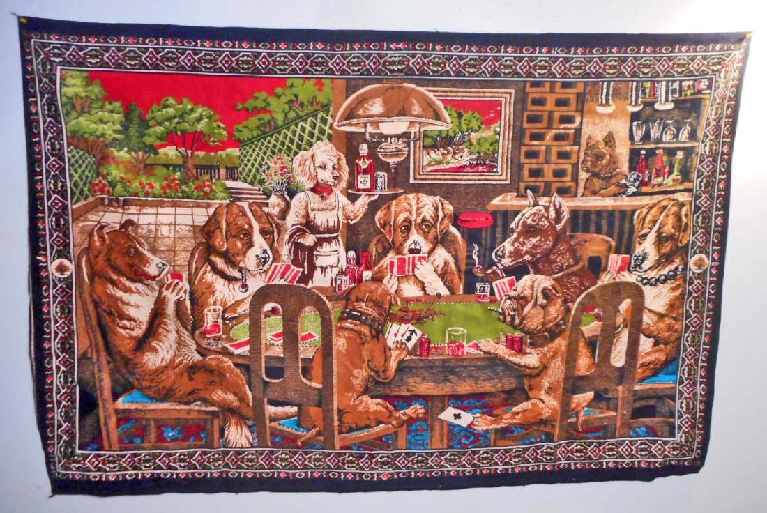 VINTAGE DOGS PLAYING POKER TAPESTRY