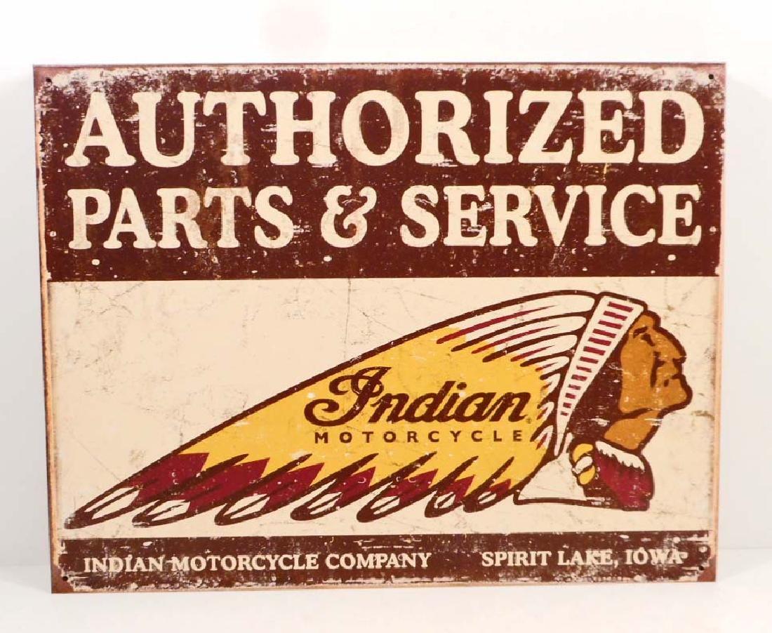INDIAN MOTORCYCLE METAL ADVERTISING SIGN