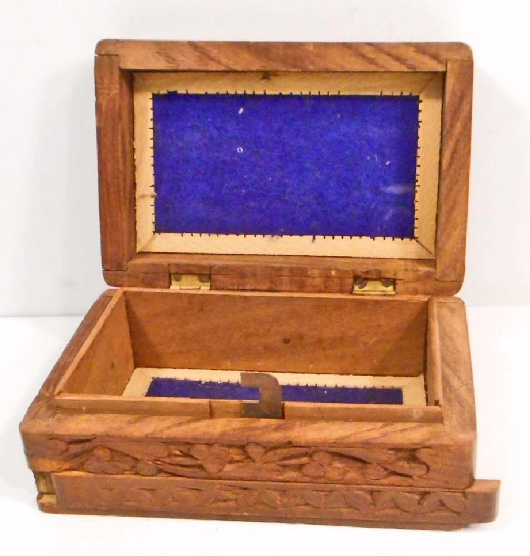 CARVED & INLAID WOODEN BOX W/ SECRET SLIDE OPENING - 2