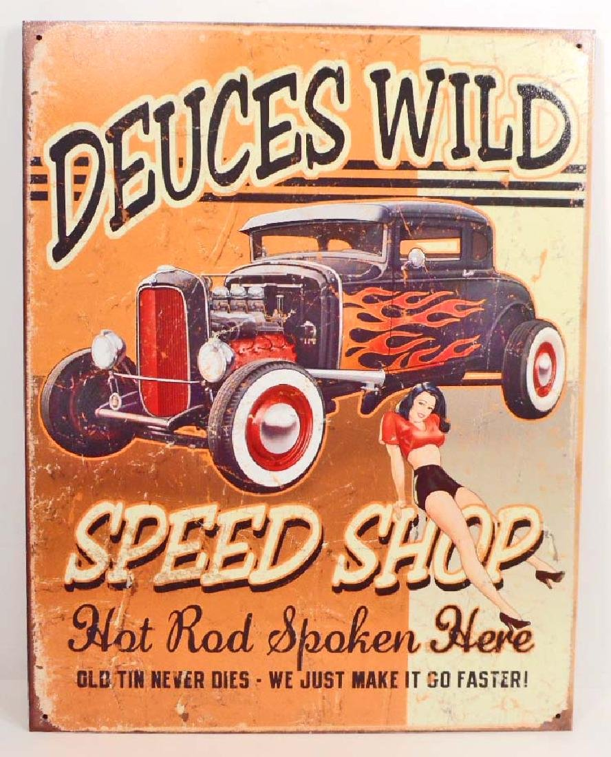 DEUCES WILD SPEED SHOP ADVERTISING METAL SIGN