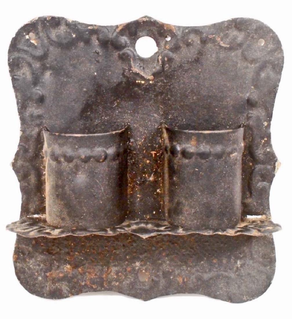 VINTAGE PRESSED STEEL MATCH HOLDER - WALL MOUNT