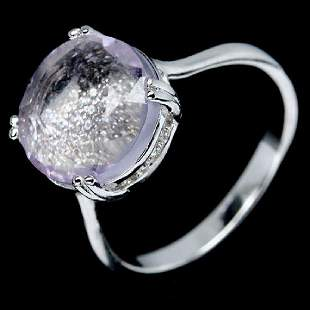 ALLURING REAL 11mm PINK AMETHYST CZ 925 STERLING