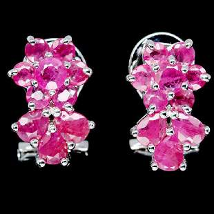NATURAL PINK RUBY 925 STERLING SILVER EARRINGS WHITE