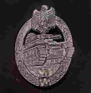 GERMAN NAZI ARMY SILVER TANK ASSAULT BADGE