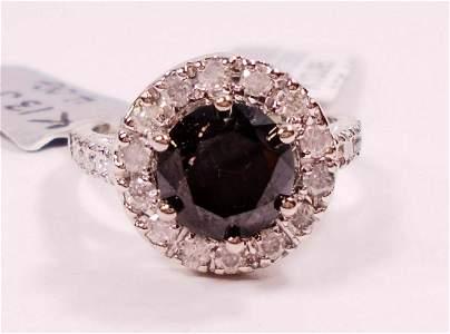 14 K WHITE GOLD BLACK & WHITE DIAMOND LADIES RING -