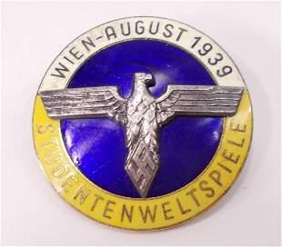 HERMAN NAZI 1939 STUDENTBUND WIEN BADGE