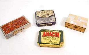 LOT OF 4 VINTAGE PILL BOXES 2 ARE ADVERTISING TINS